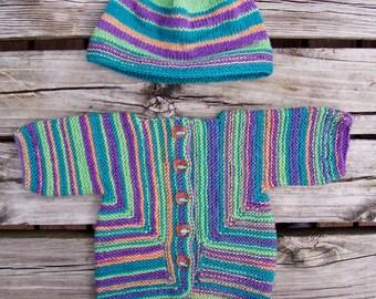 Wool Sweater and Hat set, Newborn size