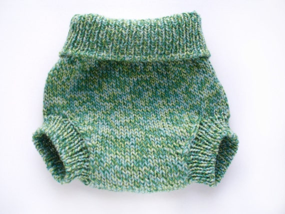 Wool Soaker Diaper Cover Large in Green Jungle