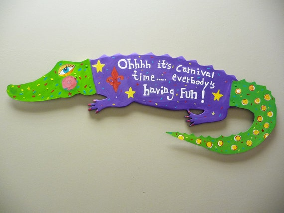Mardi Gras Alligator Repurposed Original Art Louisiana