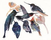 Hummingbirds and Succulent Blossoms- Archival Print