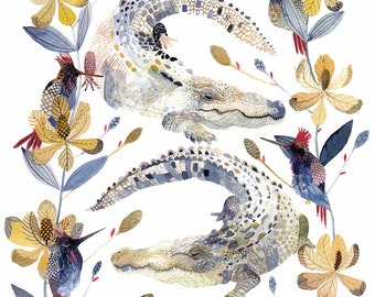 Alligators, Magnolias, and Hummingbirds - Archival Print