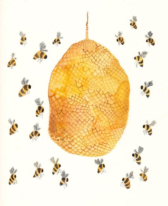 Honey Bee Hive Original Watercolor Painting By Unitedthread