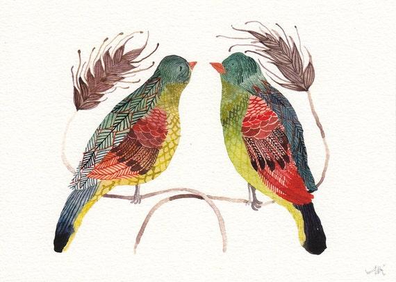 Green Birds - Archival Print