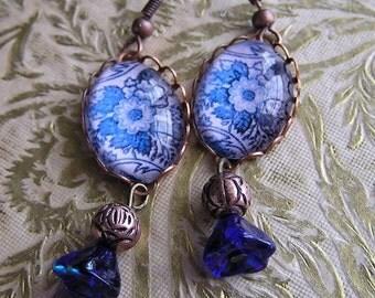 Flow Blue Victorian Style  Earrings
