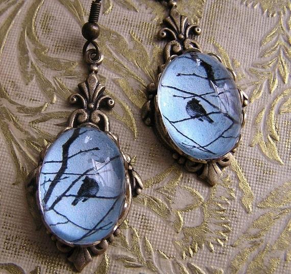 Pale Blue Bird on a Branch Art Deco Style Earrings