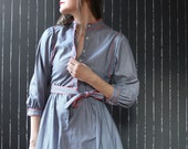 Vintage red, white and blue grid shirt dress from the 1970's