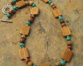 Artisan Teak Wood Beaded Gemstone Necklace and Bracelet Set