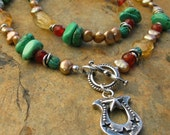 Artisan Handcrafted Beaded Gemstone Cowgirl Star Necklace