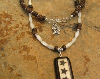 Artisan Crafted Reach For The Stars Bone and Coconut Bead Necklace