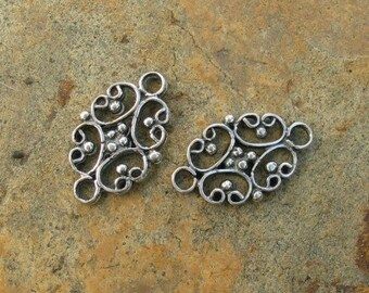 2 Sterling Silver Vintage Style Bracelet Necklace Jewelry Link Connectors