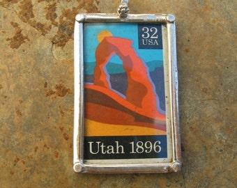 Sterling Silver Utah Postage Stamp Pendant