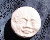 Old Man in the Moon Porcelain Ceramic Button