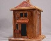 Ceramic Tiny Red Roofed Rustic Adobe Building Candle Holder or Incense Burner
