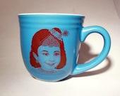 Young Gopi Krishna Coffee Tea or Chai Mug, Teal and Sepia, Original Art on Ceramic Cup
