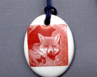 Fox in Den Ceramic Decal Transfer Pendant Porcelain Necklace