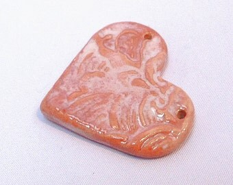 Heart Shaped Ceramic Pendant Pretty Ornate Porcelain Valentine Pink