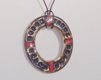 Jewelry Pendant Necklace Ceramic Oval Ring  - Black and Red
