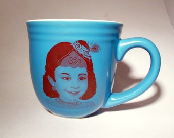 Young Gopi Krishna Coffee Tea or Chai Mug Teal and Sepia Original Art on Ceramic Cup