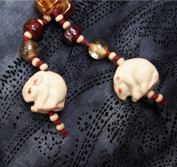 Two White Christmas Mice Porcelain Beaded Necklace Handmade Mouse Art Animal