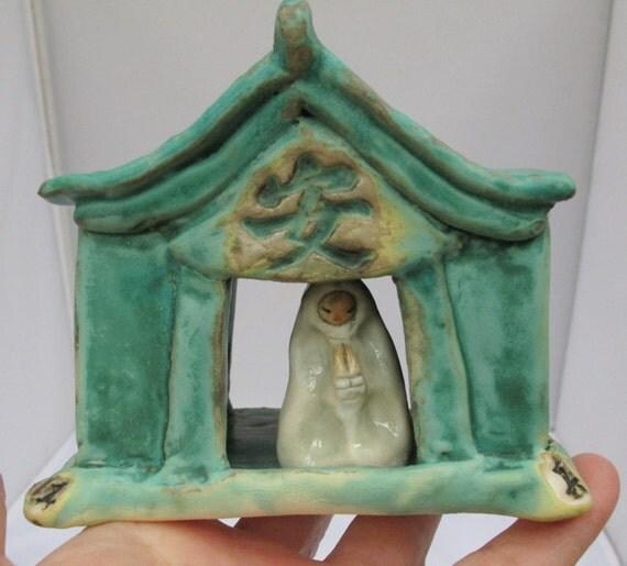 Ceramic Japanese Shrine Tea House With Kanji Symbols - Lantern Candle Holder