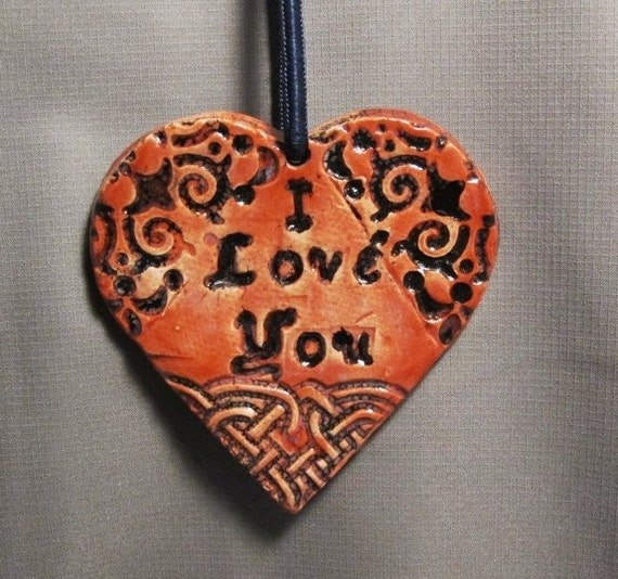 Home Decor, Ornament, Christmas - I Love You Goth Ceramic Small Heart Ornament in Red and Black