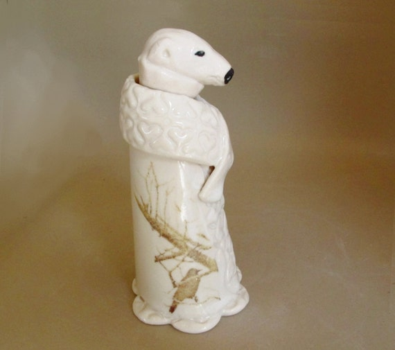 Ceramic Polar Bear in White Robes and Shawl with Crows - Zoomorphic Vessel by Jill Taylor