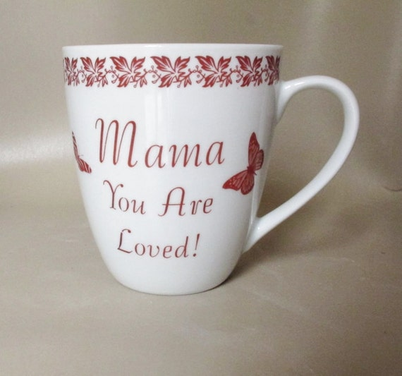 Ceramic Coffee Tea Mug For Mom - Up-Cycled Mug in White and Sepia