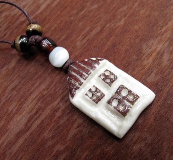 Ceramic House Keys Pendant Reversible Two Sided