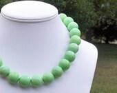 Mandi - Gorgeous Chunky 16mm Round Green Apple Agate Gemstone Beaded Necklace