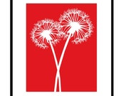 Dandelions Series I - 8x10 Floral Silhouette Print - Flowers - Bathroom, Kitchen, Nursery - Choose Your Colors - Shown in Red and White