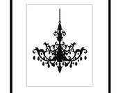 Chandelier - 11x14 Modern Chandelier Silhouette Print - Choose Your Colors - Shown in Black and White