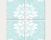 Large Scale Floral Kaleidoscope Quad - Set of Four 8x10 Floral Art Prints - CHOOSE YOUR COLORS - Shown in Pale Aqua Blue, Baby Pink and More