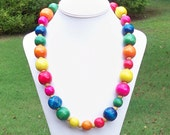Lizzie - Long Chunky Rainbow Colorful Wooden Beaded Bohemian Necklace