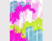 NYC Love - 11x17 - Poster Size Architectural Graphic Print - Neon Colorway - Hot Pink,  Aqua Blue, Lime Green