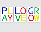 Play, Love, Grow - Kids Wall Art for Nursery or Playroom - Set of Three 8x10 Modern Typography Prints - CHOOSE YOUR COLORS
