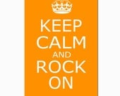 Keep Calm and Rock On - 11x17 - Poster Size Print - Wall Art - Decor - CHOOSE YOUR COLORS - Shown in Orange, Yellow, Red, Sea Aqua and More