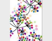 Modern Colorful Botanical - 11x17 Large Print - Original Graphic Design - Dots, Floral, Geometric