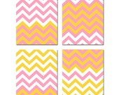 CHEVRON Wall Art - Set of Four 8x10 Modern Chevron Design Pattern Prints - Choose Your Colors - Shown in Yellow, Pink, White and More