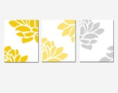 Modern Floral Print Trio - Set of Three 8x10 Prints - CHOOSE YOUR COLORS - Shown in Gray, Yellow, Raspberry Pink, Orange, Blue, and More