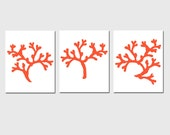 Coral Trio - Set of Three 8x10 Coordinating Coral Silhouette Prints - Nautical, Tropical, Sea Life, Beach House Decor - CHOOSE YOUR COLORS