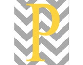 Chevron Initial - 5x7 Print - Choose Your Letter and Colors - Kids Wall Art - Shown in Yellow, Gray, and More