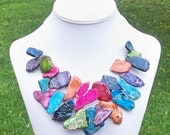 Chellie - Chunky Multicolor Agate Gemstone Slab Beaded Silver Chain Necklace - FABULOUS and COLORFUL