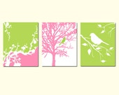 Modern Nature Trio - Set of Three 8x10 Prints - Birds, Trees, Cherry Blossoms - Nursery Wall Art - CHOOSE YOUR COLORS