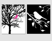 Bird in a Tree and Bird on a Branch - Set of Two 8x10 Prints - Decor for Bathroom, Nursery, Kitchen, Bedroom - CHOOSE YOUR COLORS