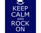 Keep Calm and Rock On - 11x14 Nursery Quote Print with Rocking Horse - CHOOSE YOUR COLORS - Shown in Navy Blue, Fuchsia Pink, and More