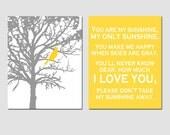 Set of Two 11x14 Prints - You Are My Sunshine and Bird In a Tree - Choose Your Colors - Shown in Gray, Yellow, and More - Modern Nursery Art