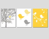 Modern Bird Trio - Set of Three 8x10 Prints - Choose Your Colors - Shown in Yellow, Gray, Pink, Mint Green, and More - Nursery Decor