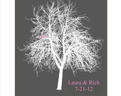 Lovebird Wedding Family Tree - Customizable with Names and Date - 11x14 Print - Great Wedding Gift - CHOOSE YOUR COLORS