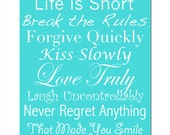 Life Rules - 11x14 Print - Inspirational Quotes and Sayings - Mixed Typography - CHOOSE YOUR COLORS - Shown in Yellow, Aqua, Gray, and More