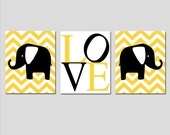 Modern Elephant Love Trio - Set of Three 11x14 Nursery Art Prints - Floral or Chevron - CHOOSE YOUR COLORS - Shown in Yellow, Black, White